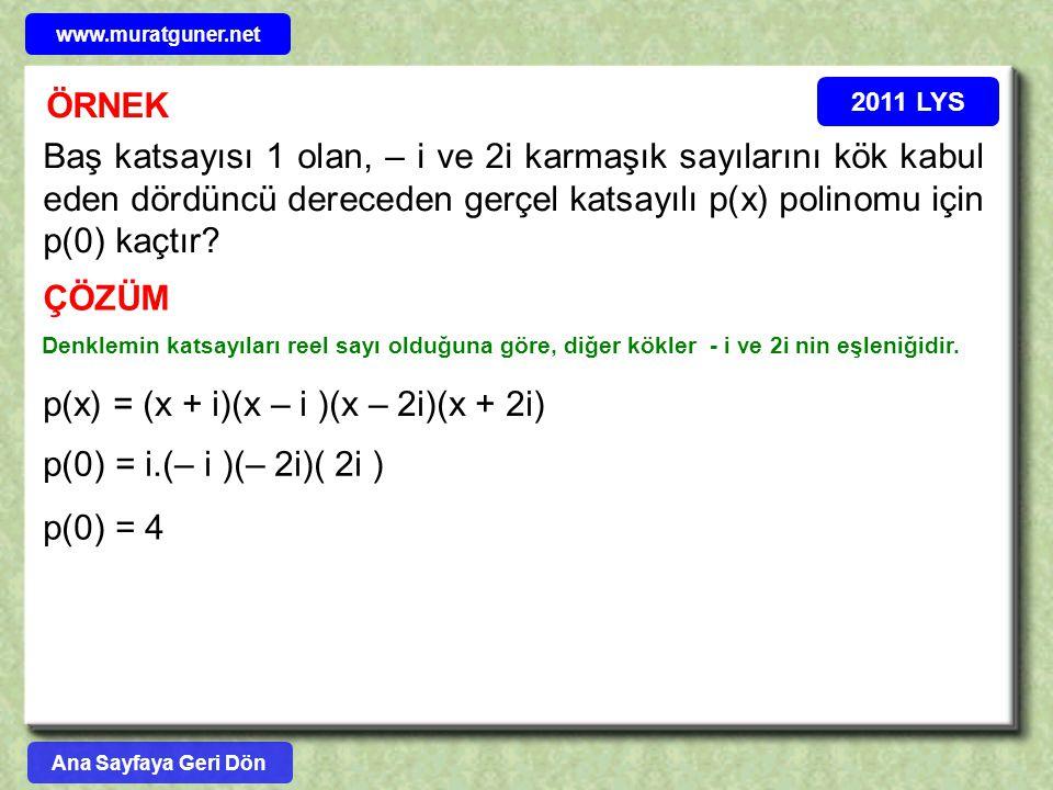 p(x) = (x + i)(x – i )(x – 2i)(x + 2i)