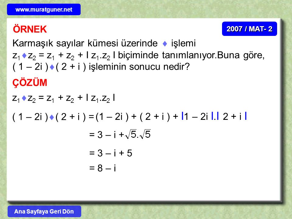 www.muratguner.net ÖRNEK. 2007 / MAT- 2.