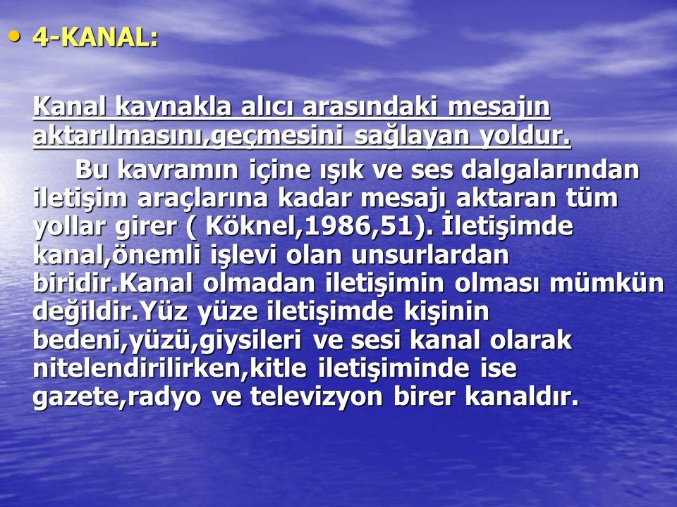 4-KANAL: Kanal kaynakla alıcı arasındaki mesajın aktarılmasını,geçmesini sağlayan yoldur.