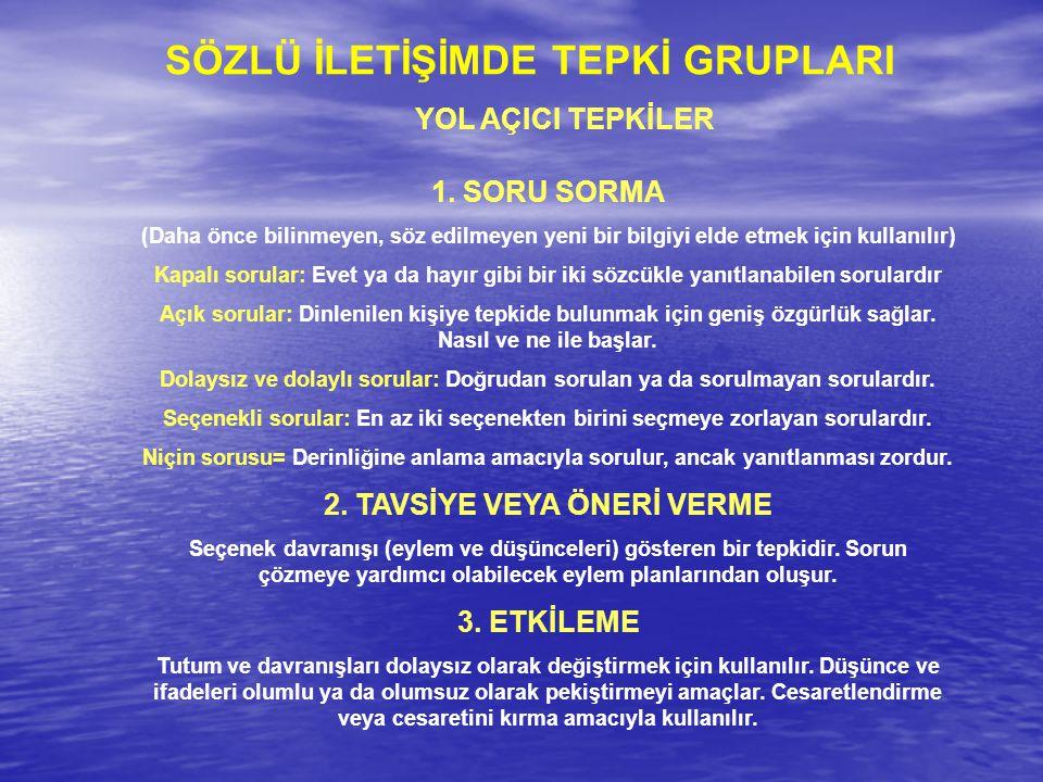 SÖZLÜ İLETİŞİMDE TEPKİ GRUPLARI 2. TAVSİYE VEYA ÖNERİ VERME