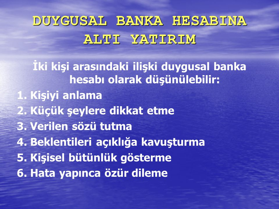 DUYGUSAL BANKA HESABINA ALTI YATIRIM