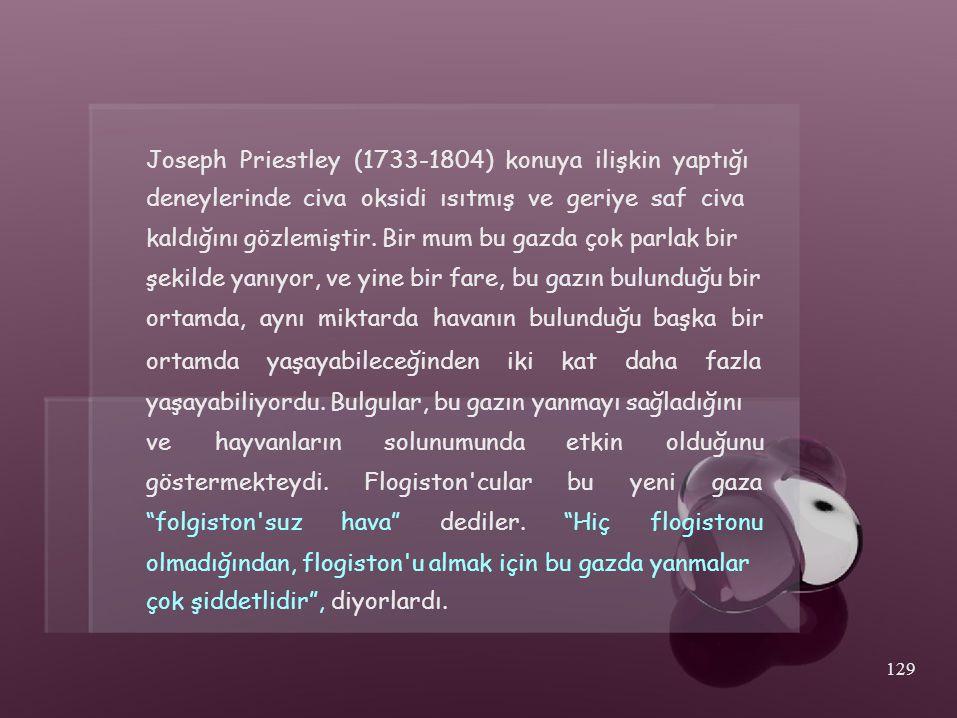 Joseph Priestley (1733-1804) konuya ilişkin yaptığı