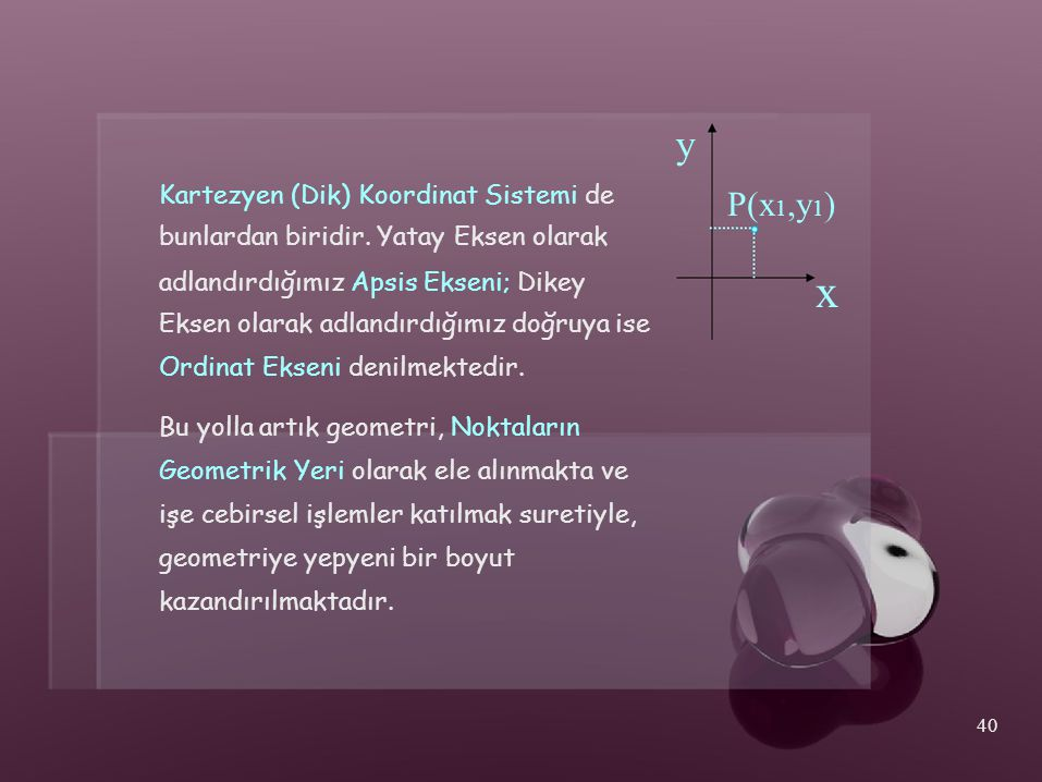 x y P(x1,y1) Kartezyen (Dik) Koordinat Sistemi de