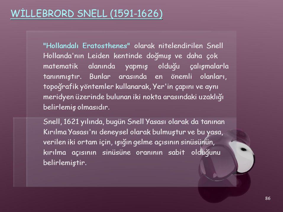 WİLLEBRORD SNELL (1591-1626) Hollandalı Eratosthenes olarak nitelendirilen Snell. Hollanda nın Leiden kentinde doğmuş ve daha çok.
