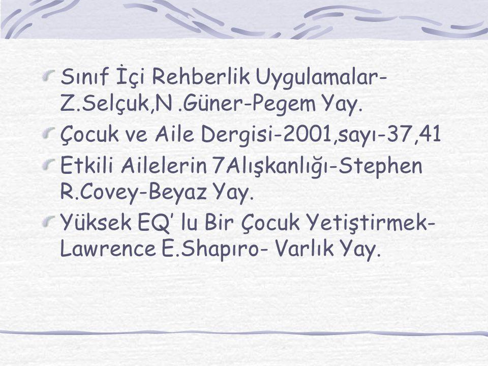 Sınıf İçi Rehberlik Uygulamalar- Z.Selçuk,N .Güner-Pegem Yay.