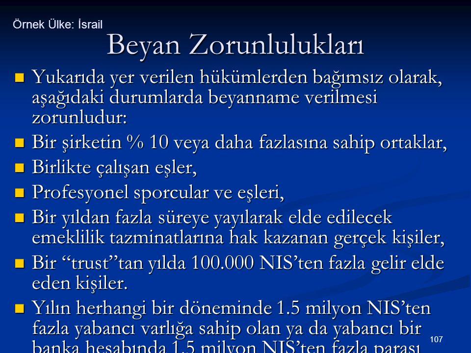 Örnek Ülke: İsrail Beyan Zorunlulukları. Yukarıda yer verilen hükümlerden bağımsız olarak, aşağıdaki durumlarda beyanname verilmesi zorunludur: