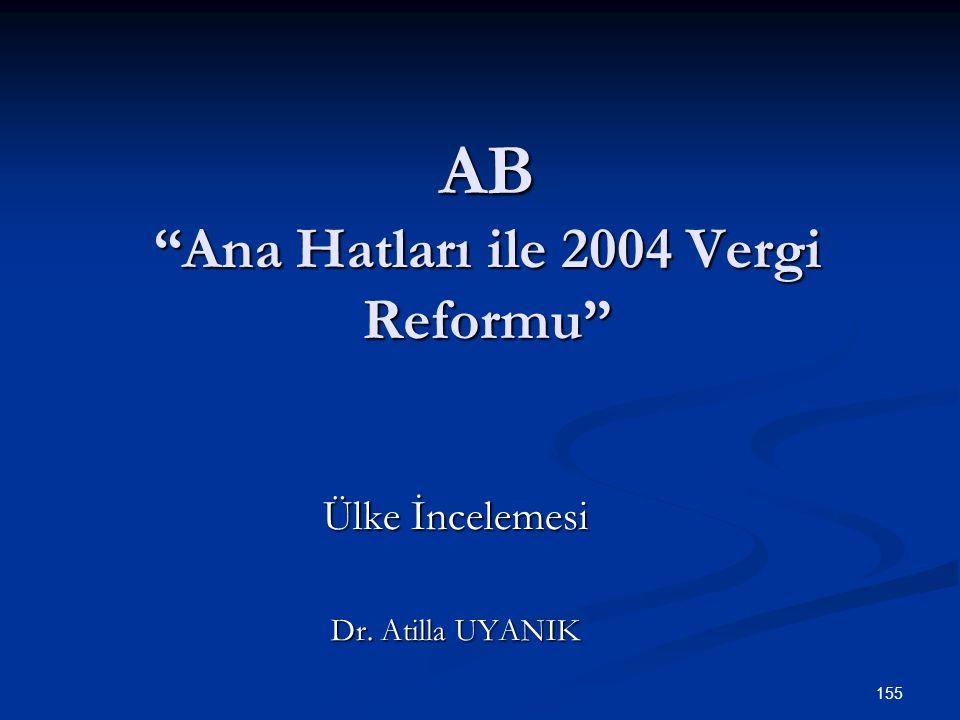 AB Ana Hatları ile 2004 Vergi Reformu