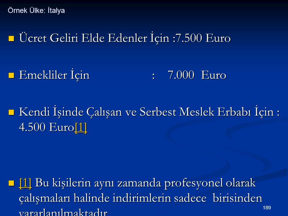 Ücret Geliri Elde Edenler İçin :7.500 Euro Emekliler İçin : 7.000 Euro