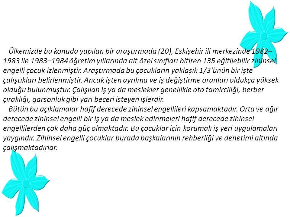 Ülkemizde bu konuda yapılan bir araştırmada (20), Eskişehir ili merkezinde 1982–
