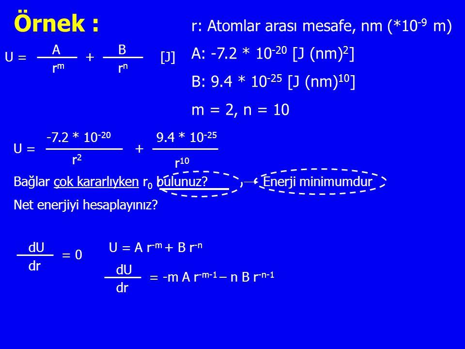 Örnek : r: Atomlar arası mesafe, nm (*10-9 m)