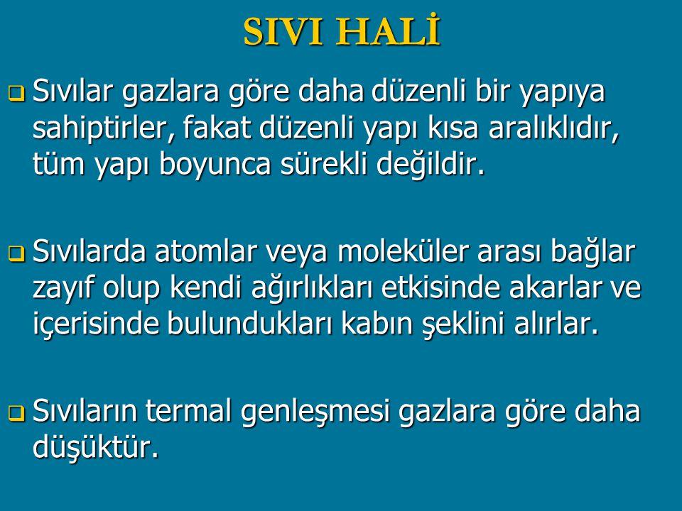 SIVI HALİ Sıvılar gazlara göre daha düzenli bir yapıya sahiptirler, fakat düzenli yapı kısa aralıklıdır, tüm yapı boyunca sürekli değildir.