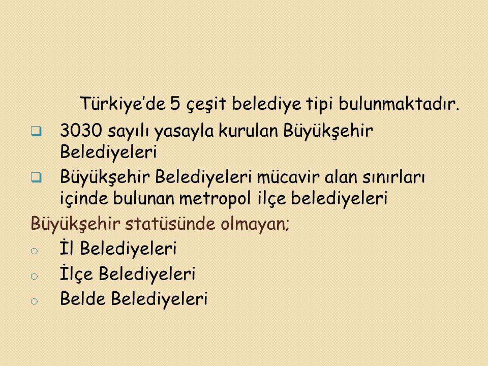Türkiye'de 5 çeşit belediye tipi bulunmaktadır.