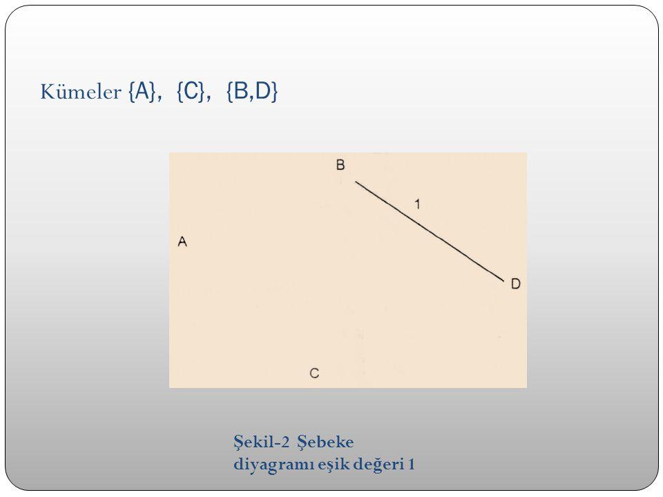 Kümeler {A}, {C}, {B,D} Şekil-2 Şebeke diyagramı eşik değeri 1