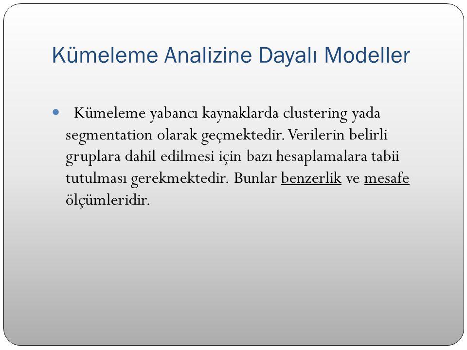 Kümeleme Analizine Dayalı Modeller