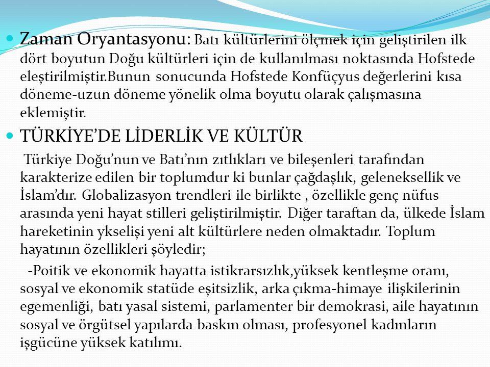 TÜRKİYE'DE LİDERLİK VE KÜLTÜR