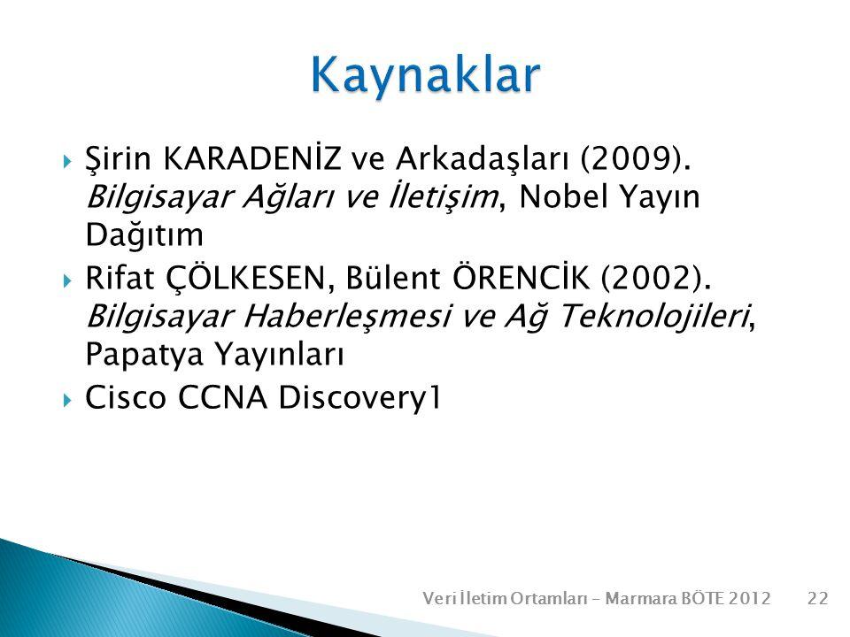 Kaynaklar Şirin KARADENİZ ve Arkadaşları (2009). Bilgisayar Ağları ve İletişim, Nobel Yayın Dağıtım.