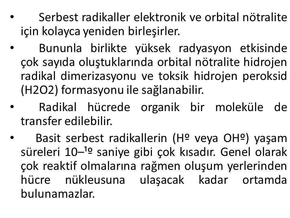 Serbest radikaller elektronik ve orbital nötralite için kolayca yeniden birleşirler.