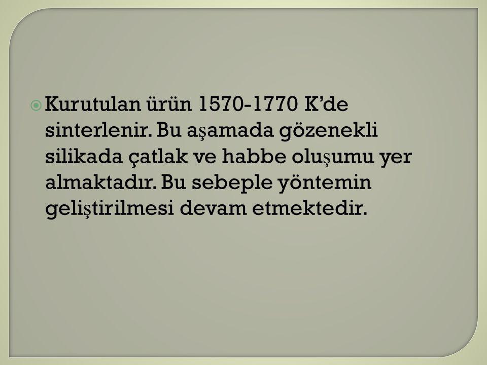 Kurutulan ürün 1570-1770 K'de sinterlenir