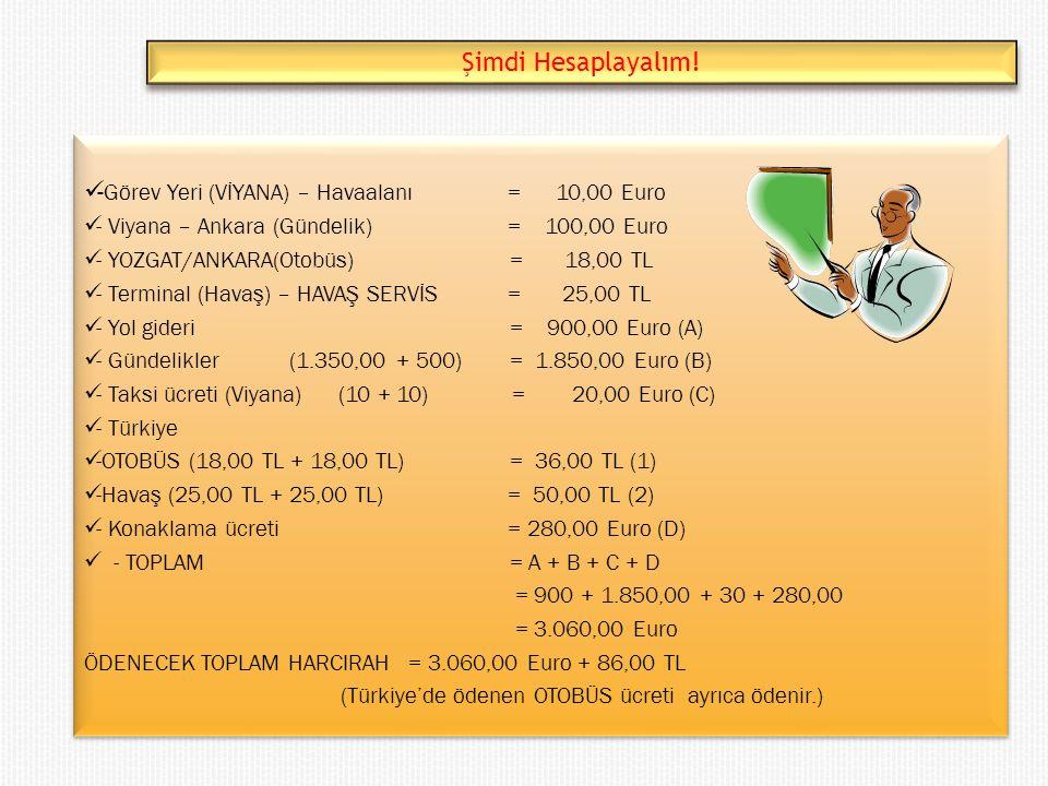 -Görev Yeri (VİYANA) – Havaalanı = 10,00 Euro