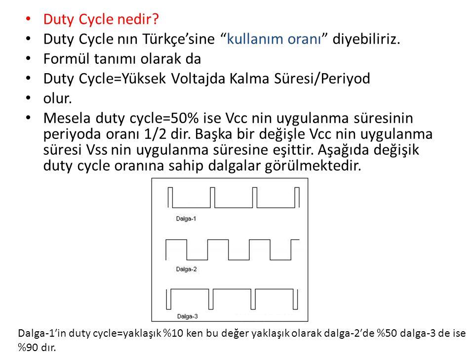Duty Cycle nın Türkçe'sine kullanım oranı diyebiliriz.