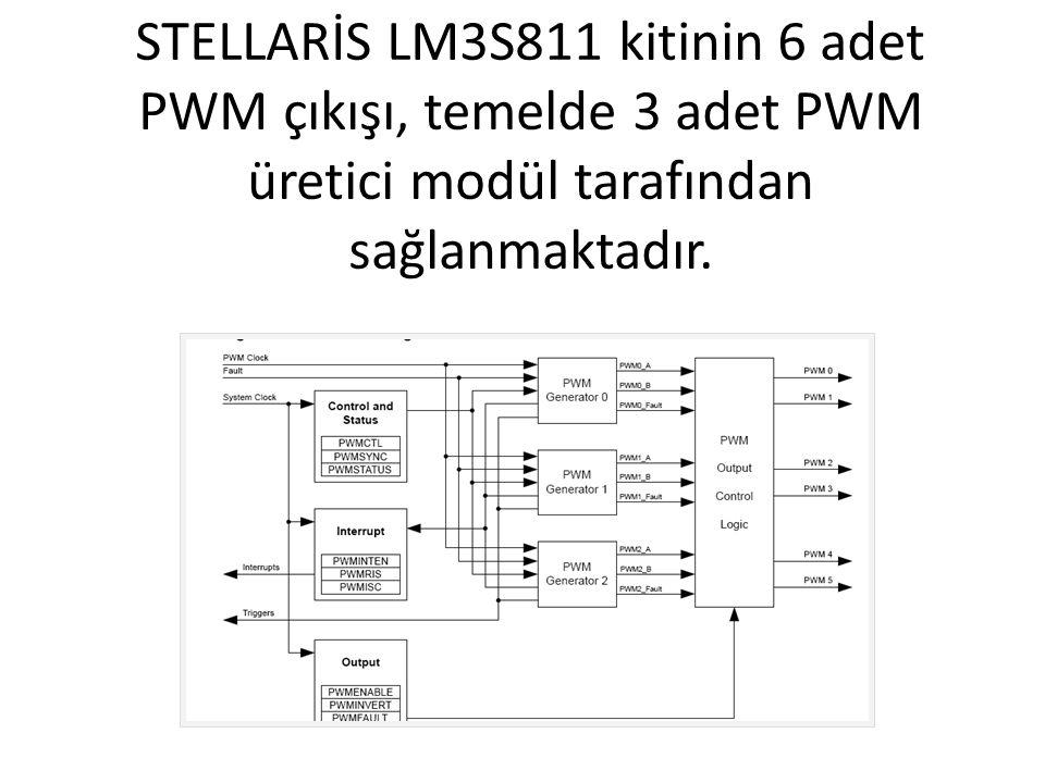 STELLARİS LM3S811 kitinin 6 adet PWM çıkışı, temelde 3 adet PWM üretici modül tarafından sağlanmaktadır.