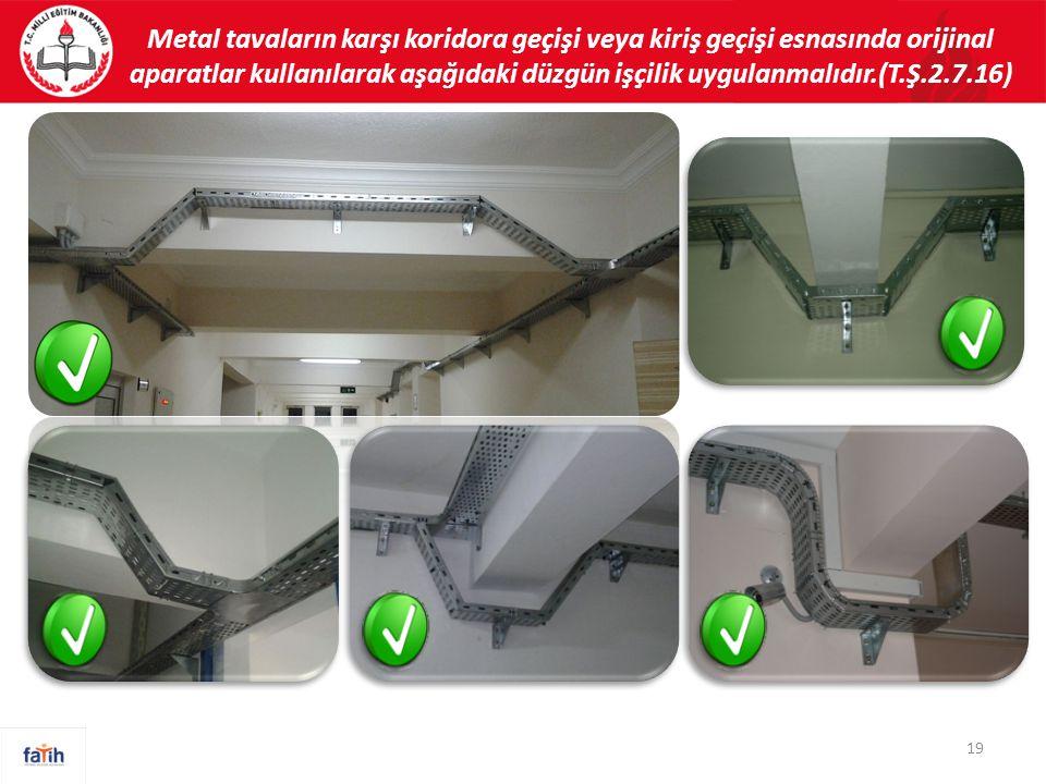 Metal tavaların karşı koridora geçişi veya kiriş geçişi esnasında orijinal aparatlar kullanılarak aşağıdaki düzgün işçilik uygulanmalıdır.(T.Ş.2.7.16)