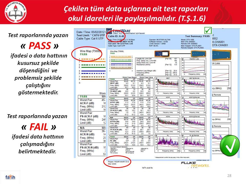 Çekilen tüm data uçlarına ait test raporları