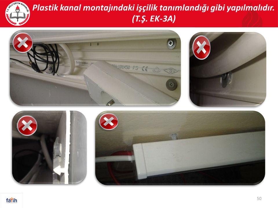 Plastik kanal montajındaki işçilik tanımlandığı gibi yapılmalıdır. (T