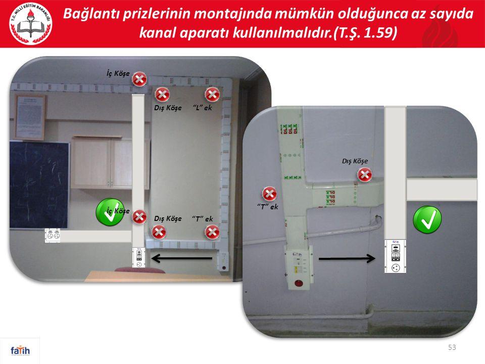 Bağlantı prizlerinin montajında mümkün olduğunca az sayıda kanal aparatı kullanılmalıdır.(T.Ş. 1.59)