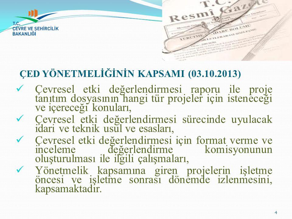 ÇED YÖNETMELİĞİNİN KAPSAMI (03.10.2013)