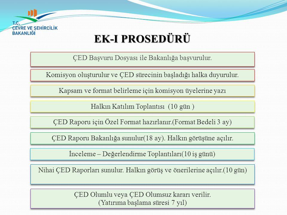 EK-I PROSEDÜRÜ ÇED Başvuru Dosyası ile Bakanlığa başvurulur.
