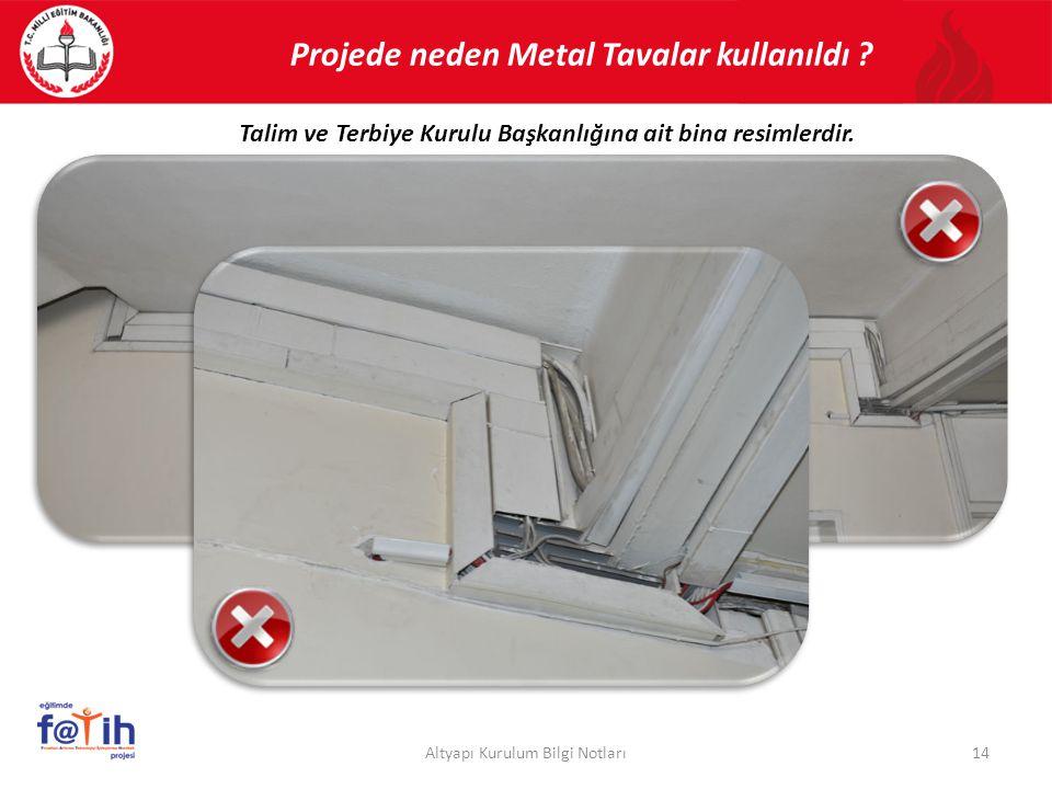 Projede neden Metal Tavalar kullanıldı