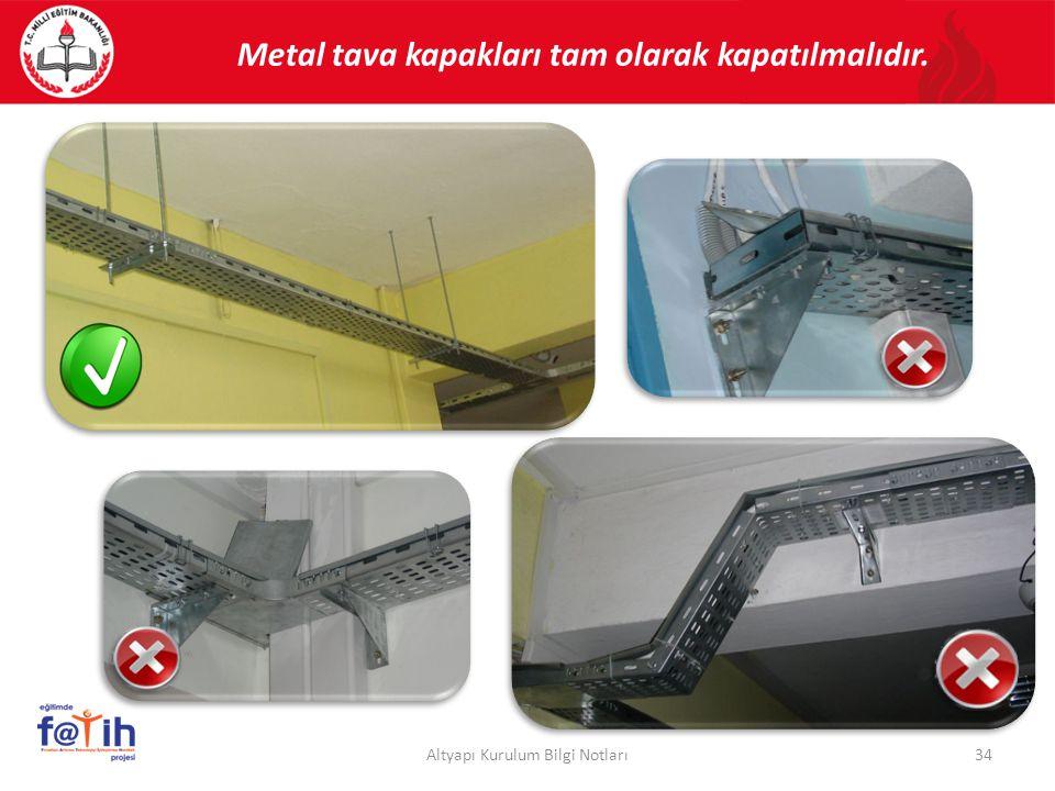 Metal tava kapakları tam olarak kapatılmalıdır.