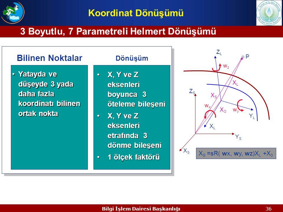 3 Boyutlu, 7 Parametreli Helmert Dönüşümü