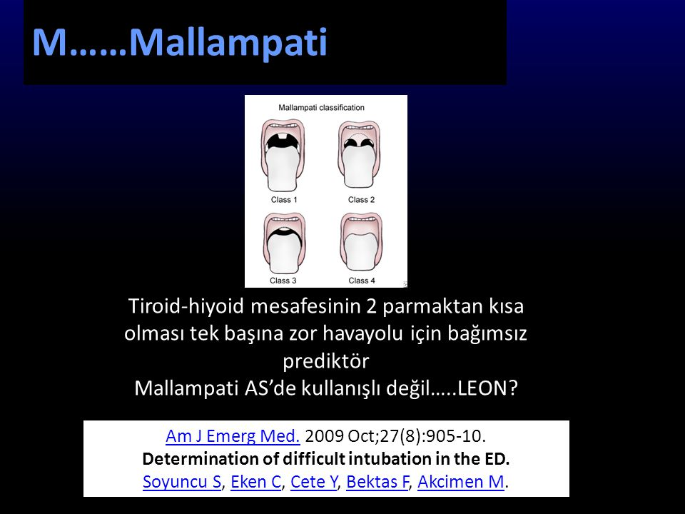 Determination of difficult intubation in the ED.