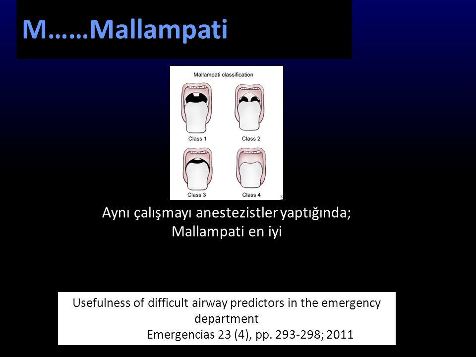 M……Mallampati Aynı çalışmayı anestezistler yaptığında;