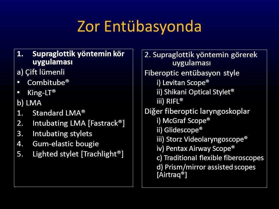Zor Entübasyonda Supraglottik yöntemin kör uygulaması