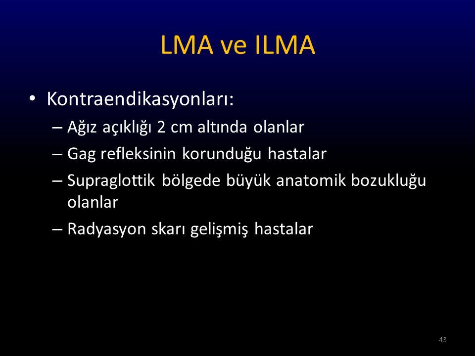 LMA ve ILMA Kontraendikasyonları: Ağız açıklığı 2 cm altında olanlar