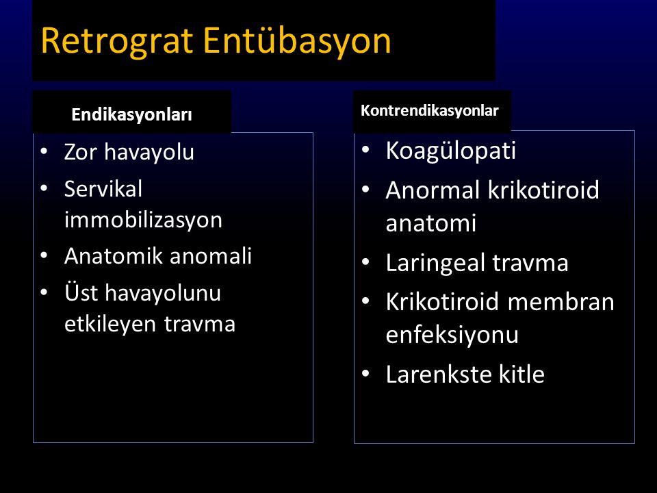 Retrograt Entübasyon Koagülopati Anormal krikotiroid anatomi