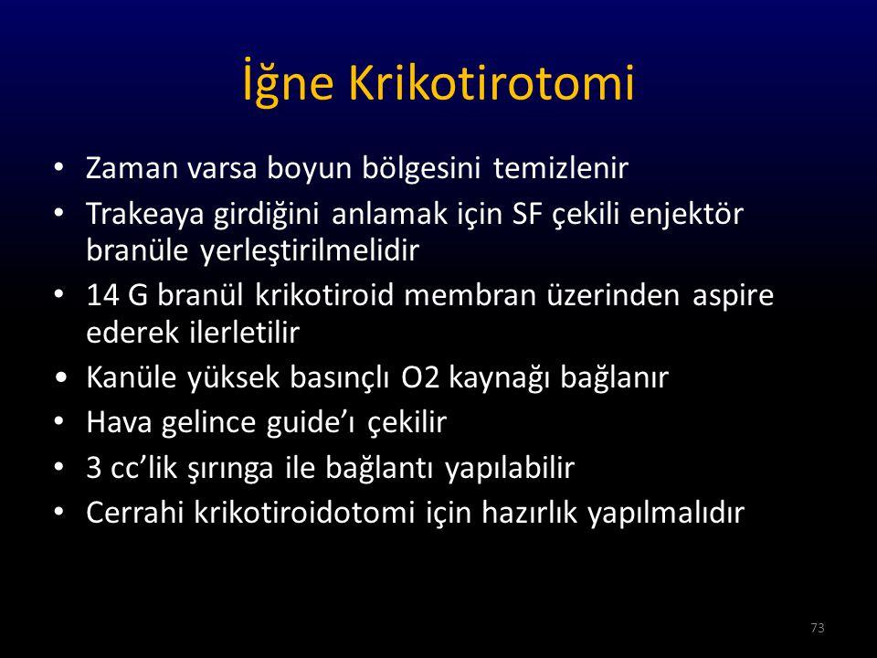 İğne Krikotirotomi Trakea içine kalın bir plastik kanül yerleştirilir.