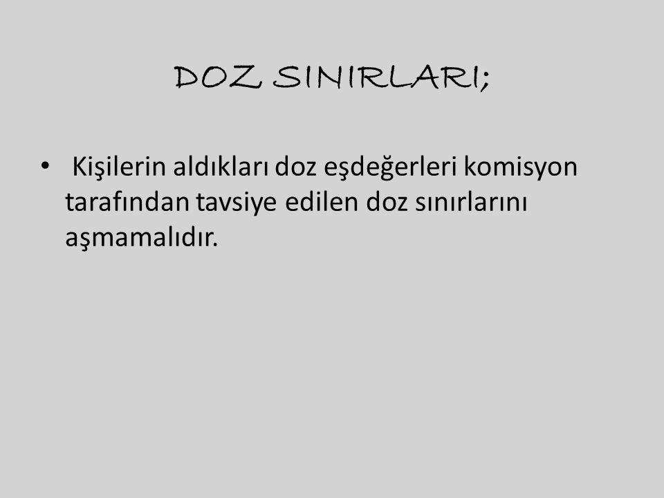 DOZ SINIRLARI; Kişilerin aldıkları doz eşdeğerleri komisyon tarafından tavsiye edilen doz sınırlarını aşmamalıdır.