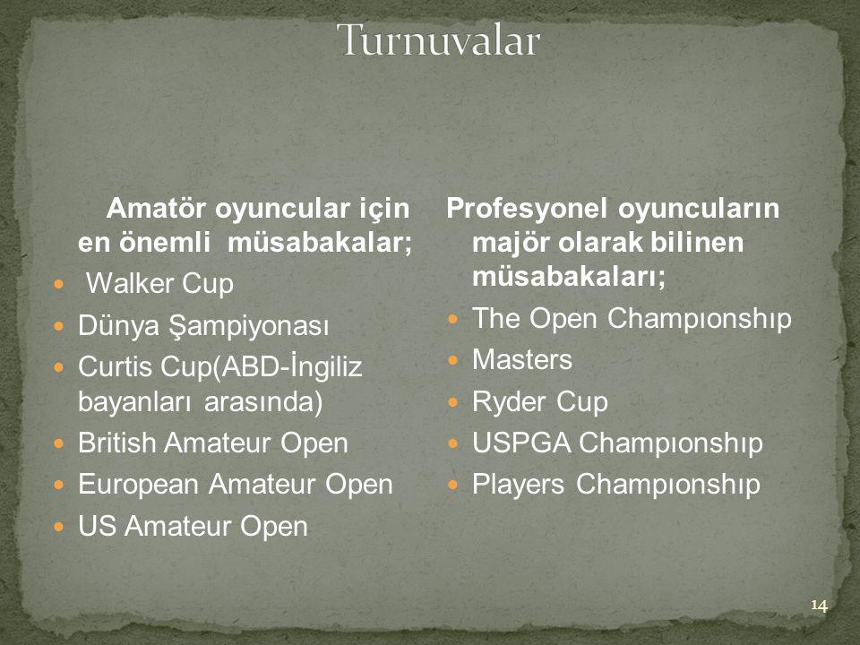 Turnuvalar Amatör oyuncular için en önemli müsabakalar; Walker Cup