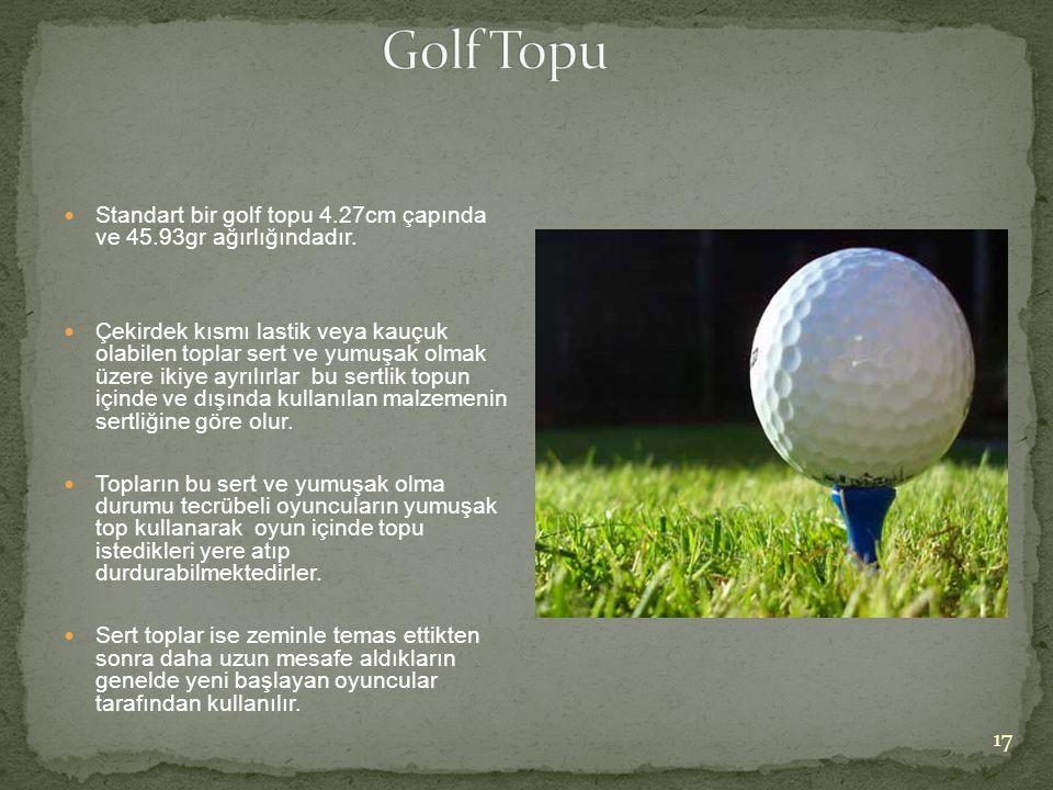 Golf Topu Standart bir golf topu 4.27cm çapında ve 45.93gr ağırlığındadır.