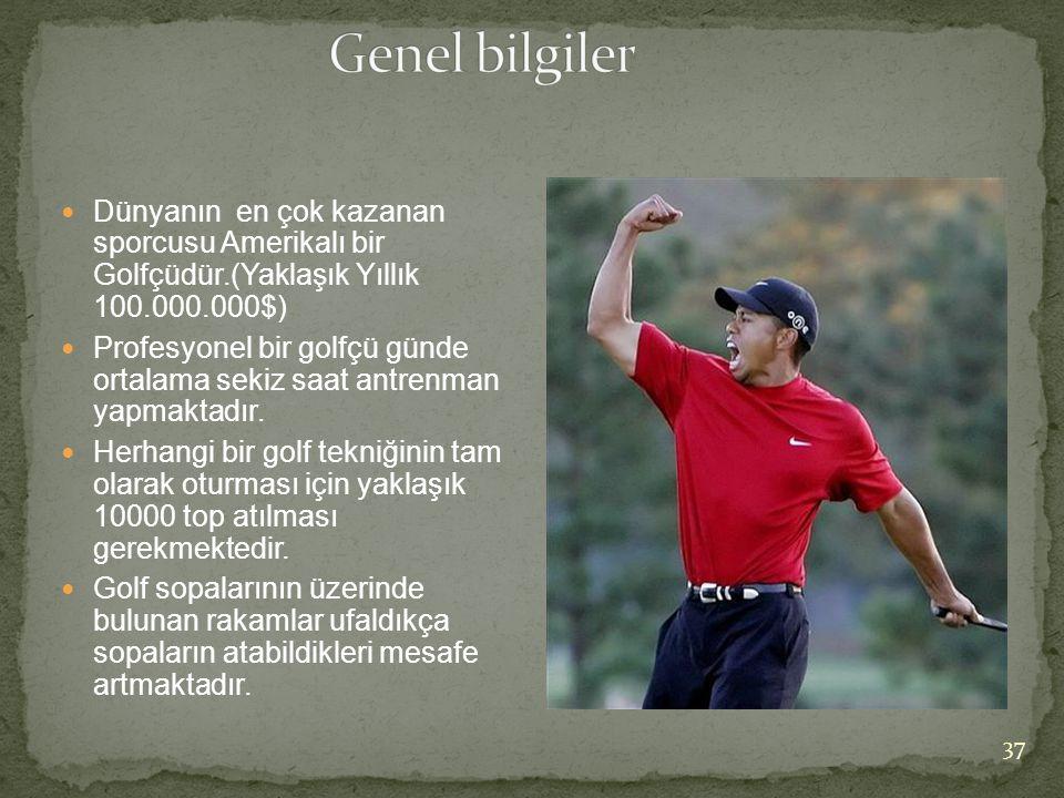 Genel bilgiler Dünyanın en çok kazanan sporcusu Amerikalı bir Golfçüdür.(Yaklaşık Yıllık 100.000.000$)