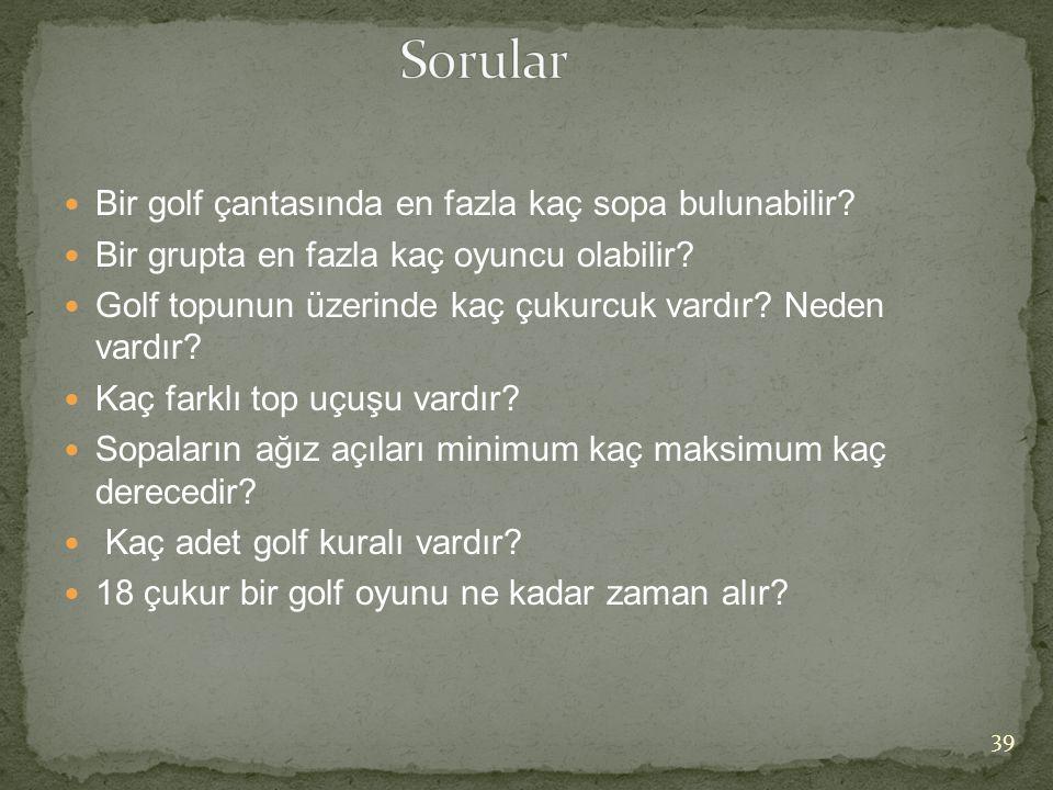 Sorular Bir golf çantasında en fazla kaç sopa bulunabilir
