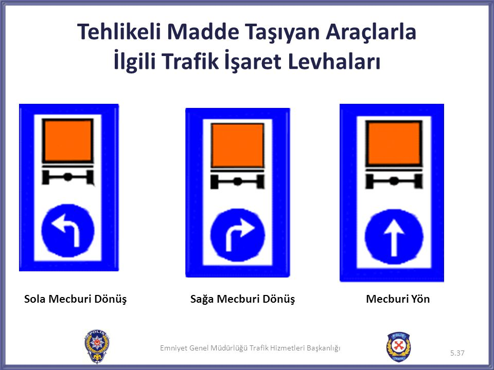 Tehlikeli Madde Taşıyan Araçlarla İlgili Trafik İşaret Levhaları