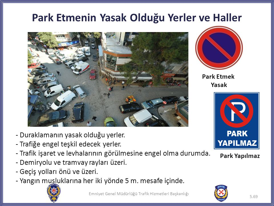 Park Etmenin Yasak Olduğu Yerler ve Haller