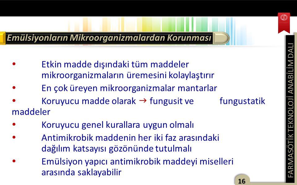 Emülsiyonların Mikroorganizmalardan Korunması