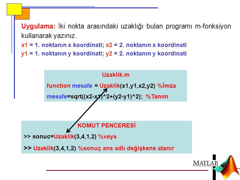 >> Uzaklik(3,4,1,2) %sonuç ans adlı değişkene atanır