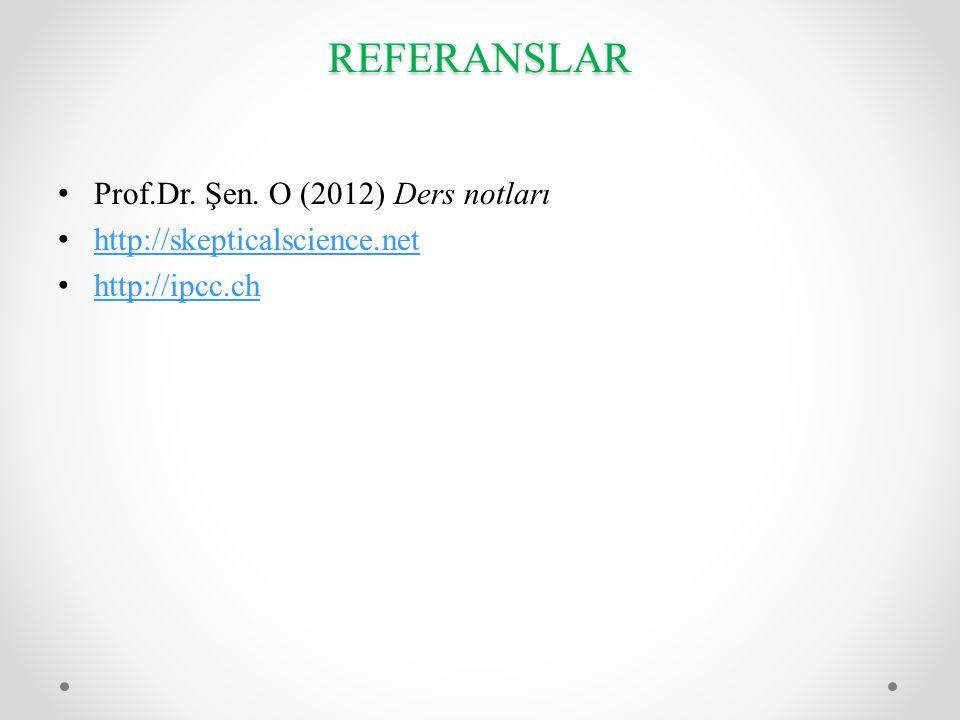REFERANSLAR Prof.Dr. Şen. O (2012) Ders notları